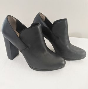 Black Leather Cara Platform Bootie Size